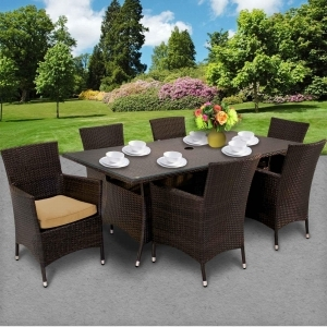 Design Furnishings Saturn 6 Chair Outdoor Wicker Patio Rectangular Dining Set