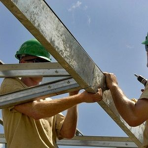 Home builders in a neighborhood